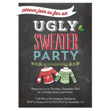 Christmas Party Invitations 5x7 Cards, Premium Cardstock 120lb with Scalloped Corners, Card & Stationery -Holiday Ugly Sweaters Party