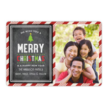Christmas Photo Cards 5x7 Cards, Premium Cardstock 120lb with Rounded Corners, Card & Stationery -Christmas Striped Frame