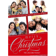 Christmas Photo Cards 5x7 Cards, Premium Cardstock 120lb with Elegant Corners, Card & Stationery -Elegant Silver Merry Christmas