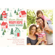 Christmas Photo Cards 5x7 Cards, Premium Cardstock 120lb with Rounded Corners, Card & Stationery -Warm Hearts, Warm Home