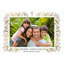 Christmas 5x7 Folded Cards, Premium Cardstock 120lb, Card & Stationery -Christmas Gold Cross