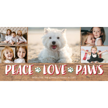 Christmas Photo Cards 4x8 Flat Card Set, 85lb, Card & Stationery -Christmas Peace Paw Prints by Tumbalina