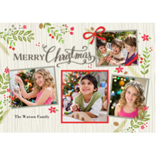 Christmas Photo Cards 5x7 Cards, Premium Cardstock 120lb with Elegant Corners, Card & Stationery -Christmas Rustic Floral Frame Snapshots