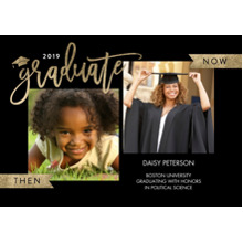 2019 Graduation Announcements 5x7 Cards, Premium Cardstock 120lb with Rounded Corners, Card & Stationery -2019 Grad Now & Then by Tumbalina