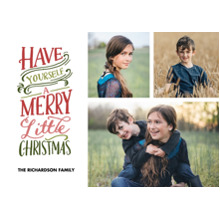 Christmas Photo Cards 5x7 Cards, Premium Cardstock 120lb with Rounded Corners, Card & Stationery -Christmas Merry Little Colorful