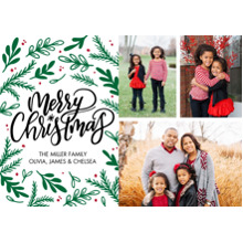 Christmas Photo Cards 5x7 Cards, Premium Cardstock 120lb with Scalloped Corners, Card & Stationery -Christmas Florish