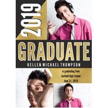 2019 Graduation Announcements 5x7 Cards, Premium Cardstock 120lb with Scalloped Corners, Card & Stationery -Bold Graphic 2019 Graduate by Hallmark