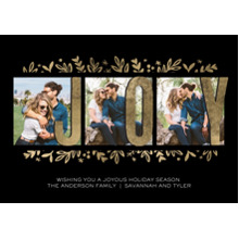 Christmas Photo Cards 5x7 Cards, Premium Cardstock 120lb with Rounded Corners, Card & Stationery -Holiday Joy Gold Glitter