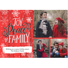 Christmas Photo Cards 5x7 Cards, Premium Cardstock 120lb with Elegant Corners, Card & Stationery -Christmas Peace Script