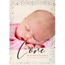Baby Announcements Set of 20, Premium 5x7 Foil Card, Card & Stationery -Love Dots Border