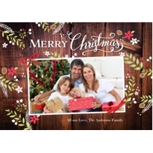 Christmas Photo Cards 5x7 Cards, Premium Cardstock 120lb with Rounded Corners, Card & Stationery -Christmas Rustic Floral Frame