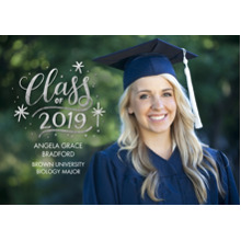 2019 Graduation Announcements 5x7 Cards, Premium Cardstock 120lb with Rounded Corners, Card & Stationery -2019 Grad Gold Stars by Tumbalina