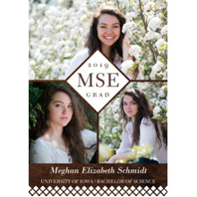 2019 Graduation Announcements 5x7 Cards, Premium Cardstock 120lb with Scalloped Corners, Card & Stationery -2019 Diamond Monogram by Hallmark