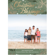 Christmas Photo Cards 5x7 Cards, Premium Cardstock 120lb with Elegant Corners, Card & Stationery -Christmas Blessings Lettering