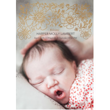 Baby Announcements 5x7 Cards, Premium Cardstock 120lb with Scalloped Corners, Card & Stationery -Baby Blossoms