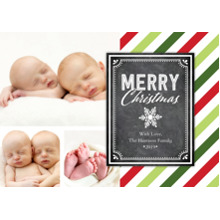 Christmas Photo Cards 5x7 Cards, Premium Cardstock 120lb with Rounded Corners, Card & Stationery -Chirstmas Colorful Stripes Plaque