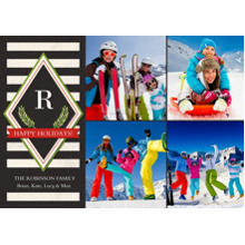 Christmas Photo Cards 5x7 Cards, Premium Cardstock 120lb with Rounded Corners, Card & Stationery -Modern Monogram Stripes