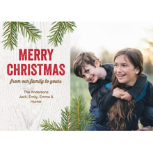 Christmas Photo Cards 5x7 Cards, Premium Cardstock 120lb with Rounded Corners, Card & Stationery -Christmas Rustic Wood Greetings