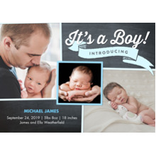 Baby Boy Announcements 5x7 Cards, Premium Cardstock 120lb with Scalloped Corners, Card & Stationery -Baby Boy Banner