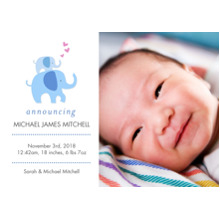 Baby Announcements 5x7 Cards, Premium Cardstock 120lb with Rounded Corners, Card & Stationery -Baby Elelphants & Hearts