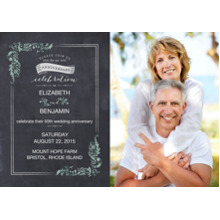 Anniversary Invitations Flat Matte Photo Paper Cards with Envelopes, 5x7, Card & Stationery -Flourishing Chalkboard