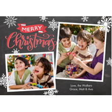Christmas Photo Cards 5x7 Cards, Premium Cardstock 120lb with Elegant Corners, Card & Stationery -Christmas Banner Snowflakes by Tumbalina