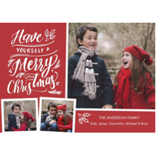 Christmas Photo Cards 5x7 Cards, Premium Cardstock 120lb with Elegant Corners, Card & Stationery -Christmas Festive Lettering