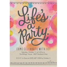 Birthday Party Invites 5x7 Cards, Premium Cardstock 120lb, Card & Stationery -Life's a Party Watercolor