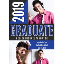 2019 Graduation Announcements 5x7 Cards, Premium Cardstock 120lb with Rounded Corners, Card & Stationery -Bold Graphic 2019 Graduate by Hallmark