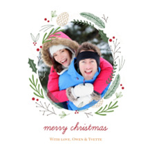 Christmas Photo Cards 5x7 Cards, Premium Cardstock 120lb with Rounded Corners, Card & Stationery -Forest Wreath Christmas