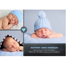 Baby Boy Announcements Flat Matte Photo Paper Cards with Envelopes, 5x7, Card & Stationery -Baby Heart Blue