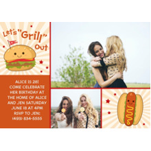 Birthday Party Invites 5x7 Cards, Premium Cardstock 120lb with Rounded Corners, Card & Stationery -Let's Grill Out