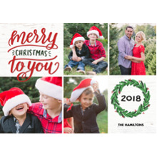 Christmas Photo Cards 5x7 Cards, Premium Cardstock 120lb with Rounded Corners, Card & Stationery -2018 Christmas Wreath by Tumbalina