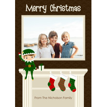 Christmas Photo Cards 5x7 Cards, Premium Cardstock 120lb with Elegant Corners, Card & Stationery -Mantle Elf