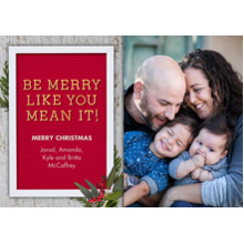Christmas Photo Cards 5x7 Cards, Premium Cardstock 120lb with Rounded Corners, Card & Stationery -Be Merry Letter Board