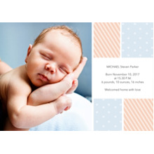 Baby Announcements 5x7 Cards, Premium Cardstock 120lb with Rounded Corners, Card & Stationery -Stripes & Polka Dots Announcement