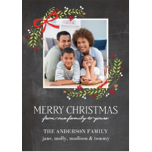Christmas Photo Cards 5x7 Cards, Premium Cardstock 120lb with Elegant Corners, Card & Stationery -Christmas Garland Corners