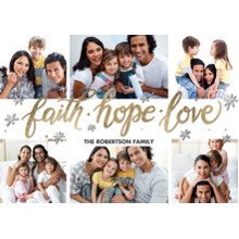 Christmas Photo Cards 5x7 Cards, Premium Cardstock 120lb with Scalloped Corners, Card & Stationery -Christmas Faith Hope Love Gold by Tumbalina
