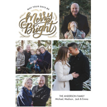 Christmas Photo Cards 5x7 Cards, Premium Cardstock 120lb with Scalloped Corners, Card & Stationery -Christmas Merry & Bright Gold