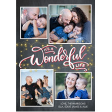 Christmas Photo Cards 5x7 Cards, Premium Cardstock 120lb with Rounded Corners, Card & Stationery -Christmas Wonderful Life Rustic by Tumbalina