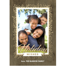 Christmas Photo Cards 5x7 Cards, Premium Cardstock 120lb with Rounded Corners, Card & Stationery -Golden Floral Woodgrain