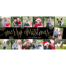 Christmas Photo Cards 4x8 Flat Card Set, 85lb, Card & Stationery -Christmas Merry Script Gold