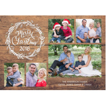 Christmas Photo Cards 5x7 Cards, Premium Cardstock 120lb with Elegant Corners, Card & Stationery -Christmas 2018 Rustic Wreath Collage by Tumbalina