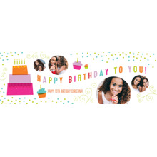 Birthday 2x6 Peel, Stick & Reuse Banner, Home Decor -Cake & Candles