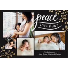 Christmas Photo Cards 5x7 Cards, Premium Cardstock 120lb with Elegant Corners, Card & Stationery -Holiday Peace Gold Berries