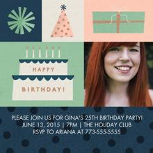 Birthday Party Invites 5x5 Flat Card Set, 85lb, Card & Stationery -Birthday Blocks Invitation