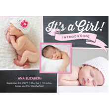 Baby Girl Announcements 5x7 Cards, Premium Cardstock 120lb with Rounded Corners, Card & Stationery -Baby Girl Banner