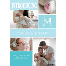 Baby Announcements 5x7 Cards, Premium Cardstock 120lb with Scalloped Corners, Card & Stationery -Baby Introduce Initial