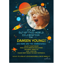 Birthday Party Invites 5x7 Cards, Premium Cardstock 120lb, Card & Stationery -Out of This World Celebration