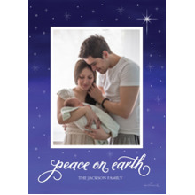 Christmas Photo Cards 5x7 Cards, Premium Cardstock 120lb with Elegant Corners, Card & Stationery -Peace on Earth Star